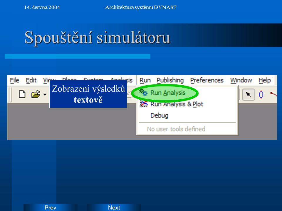NextPrev 14. června 2004Architektura systému DYNAST Spouštění simulátoru Zobrazení výsledků textově