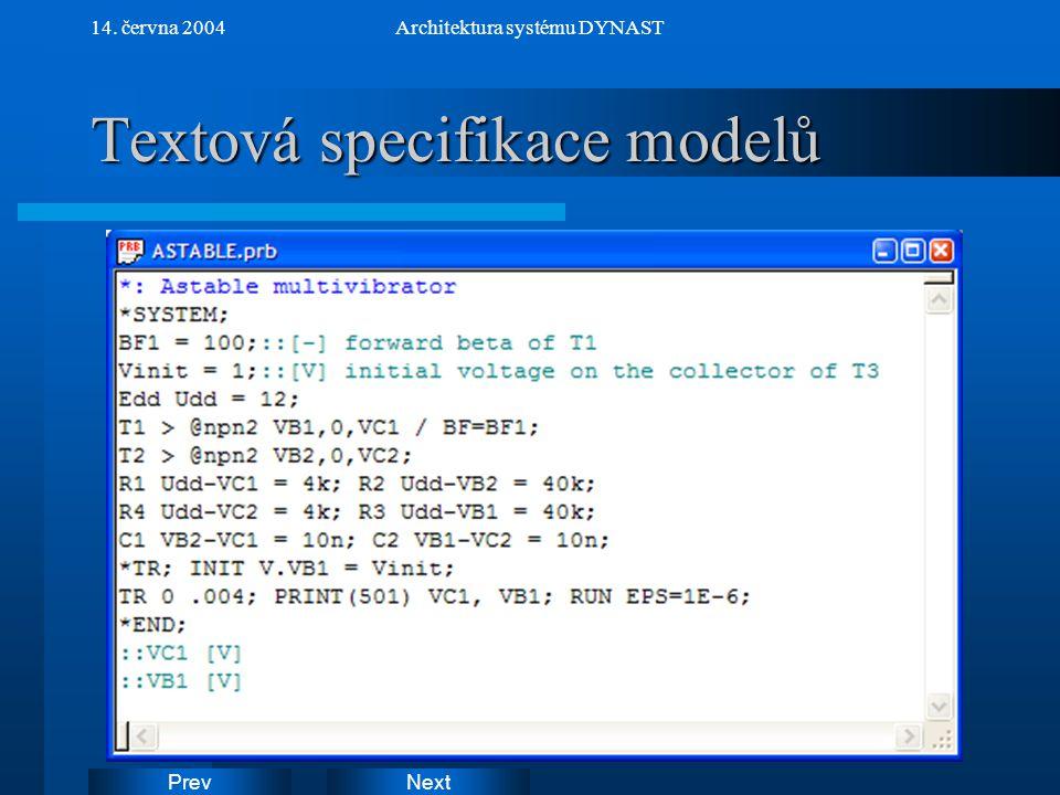 NextPrev 14. června 2004Architektura systému DYNAST Textová specifikace modelů