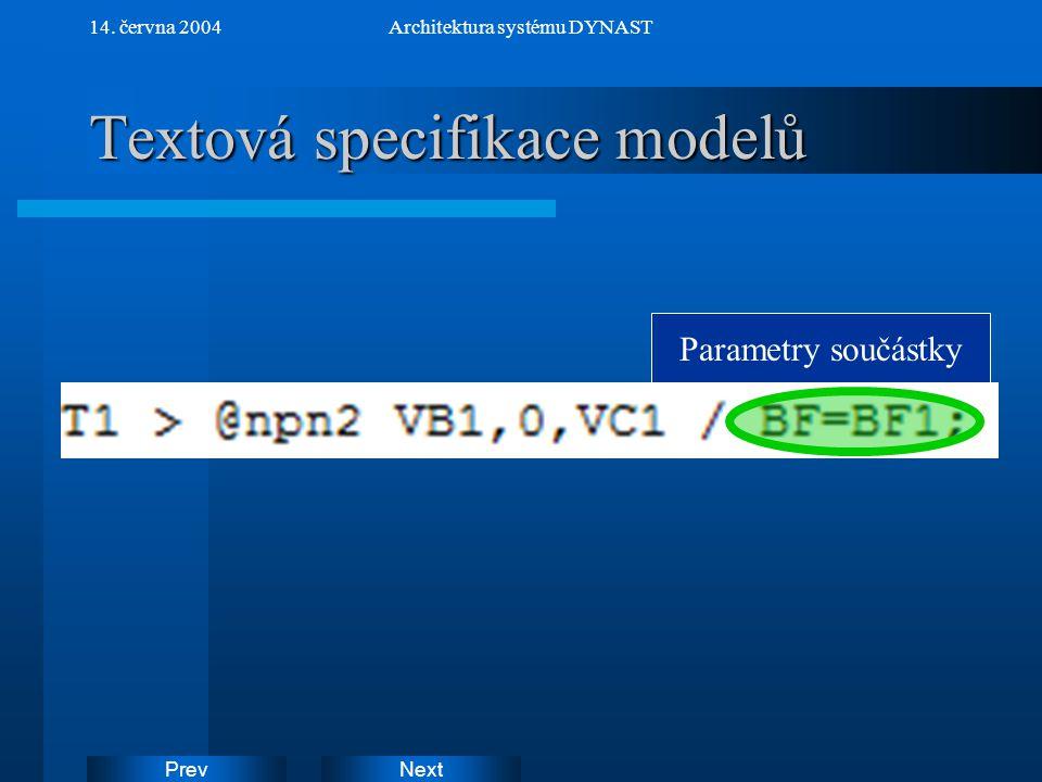 NextPrev 14. června 2004Architektura systému DYNAST Textová specifikace modelů Parametry součástky