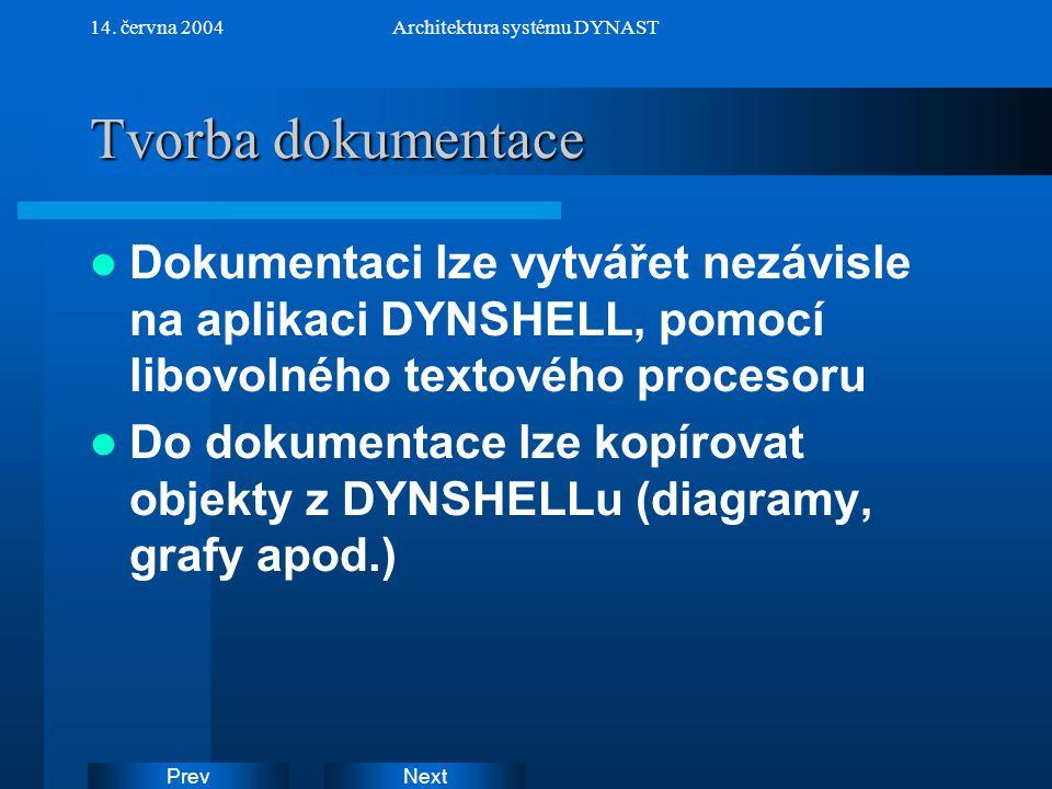 NextPrev 14. června 2004Architektura systému DYNAST Tvorba dokumentace Dokumentaci lze vytvářet nezávisle na aplikaci DYNSHELL, pomocí libovolného tex