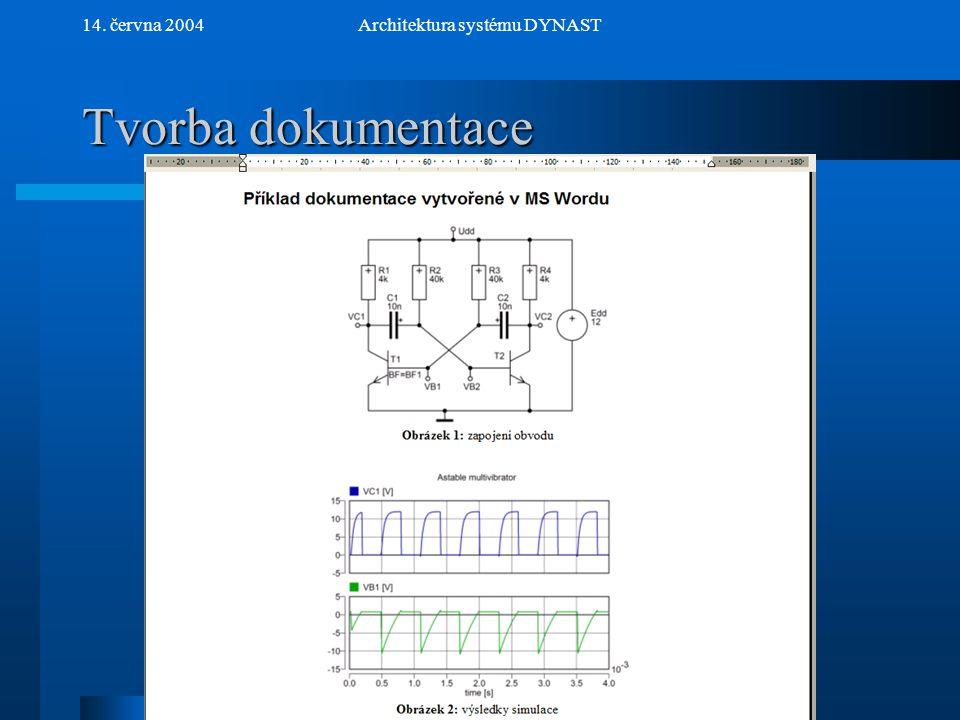 NextPrev 14. června 2004Architektura systému DYNAST Tvorba dokumentace