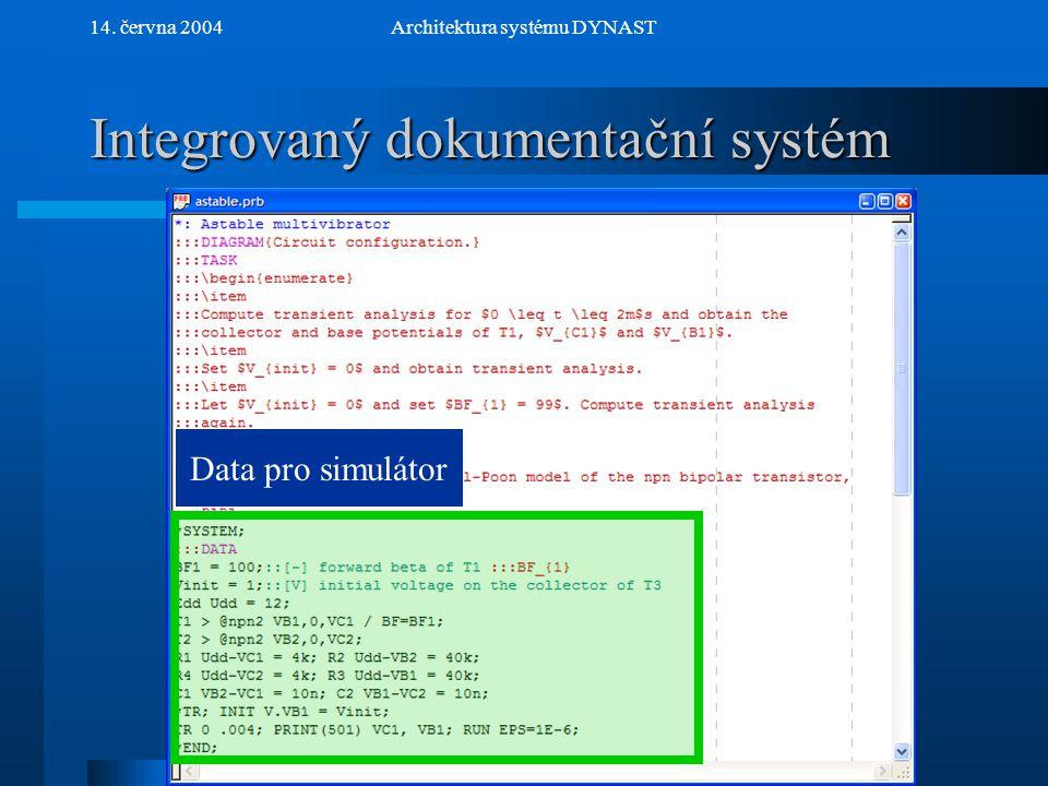 NextPrev 14. června 2004Architektura systému DYNAST Integrovaný dokumentační systém Data pro simulátor