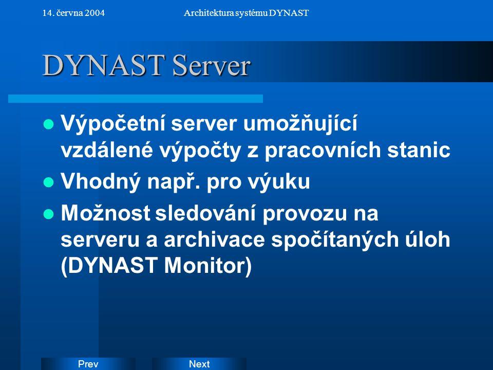 NextPrev 14. června 2004Architektura systému DYNAST DYNAST Server Výpočetní server umožňující vzdálené výpočty z pracovních stanic Vhodný např. pro vý