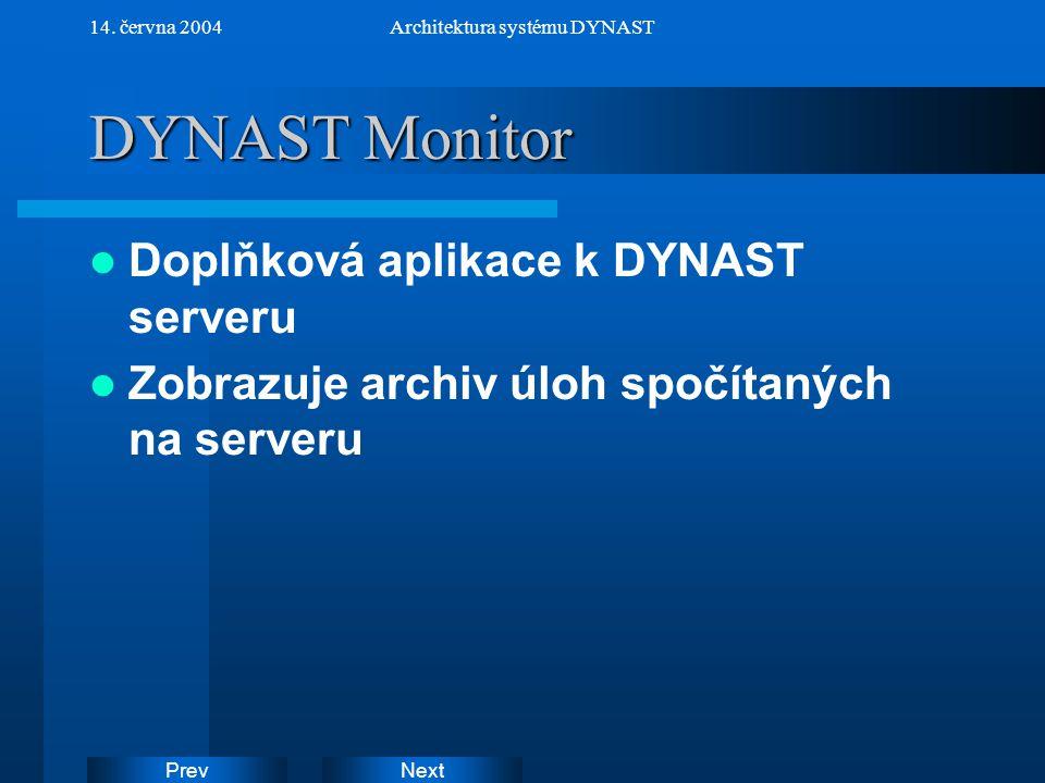 NextPrev 14. června 2004Architektura systému DYNAST DYNAST Monitor Doplňková aplikace k DYNAST serveru Zobrazuje archiv úloh spočítaných na serveru