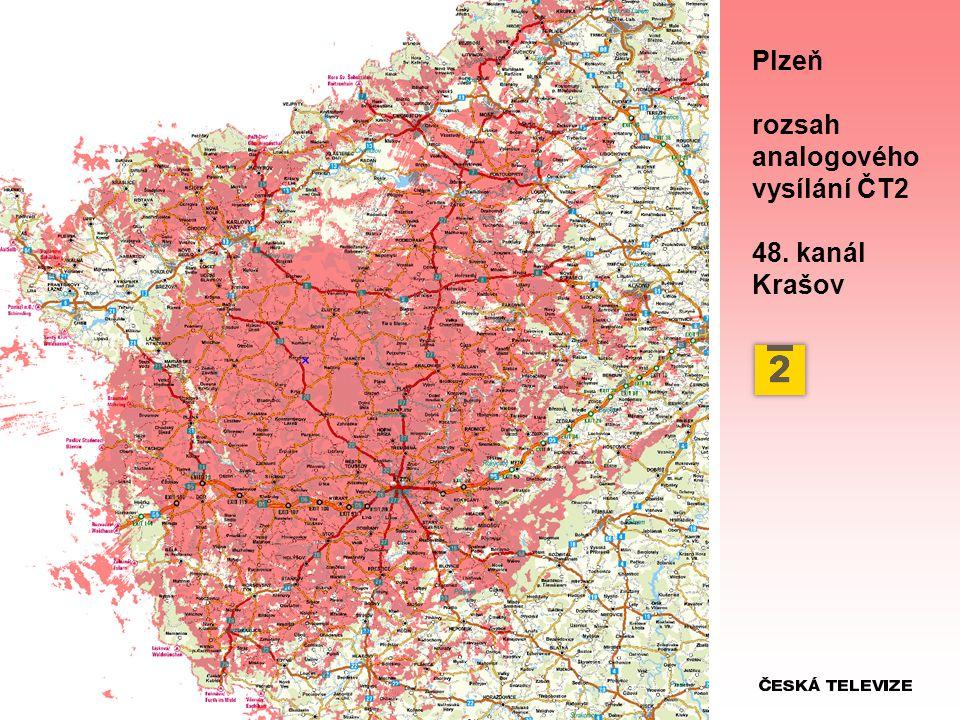 Plzeň rozsah analogového vysílání ČT2 48. kanál Krašov