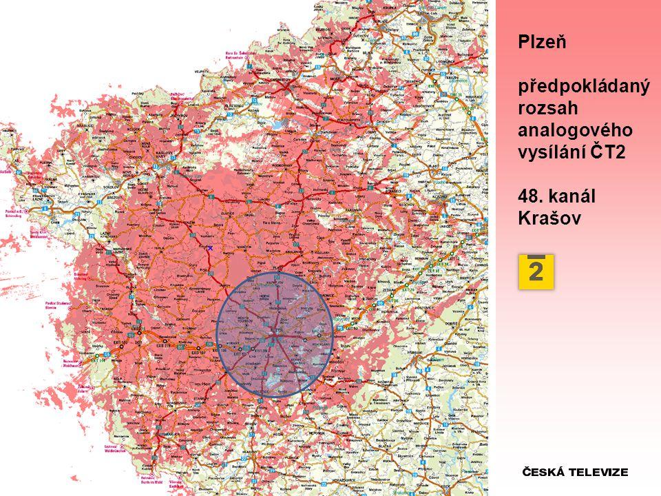 Plzeň předpokládaný rozsah analogového vysílání ČT2 48. kanál Krašov