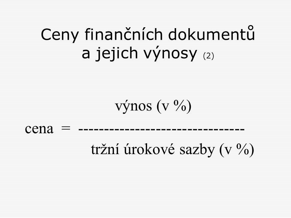 Ceny finančních dokumentů a jejich výnosy (2) výnos (v %) cena = -------------------------------- tržní úrokové sazby (v %)