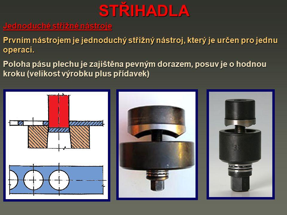STŘIHADLA Jednoduché střižné nástroje Prvním nástrojem je jednoduchý střižný nástroj, který je určen pro jednu operaci. Poloha pásu plechu je zajištěn