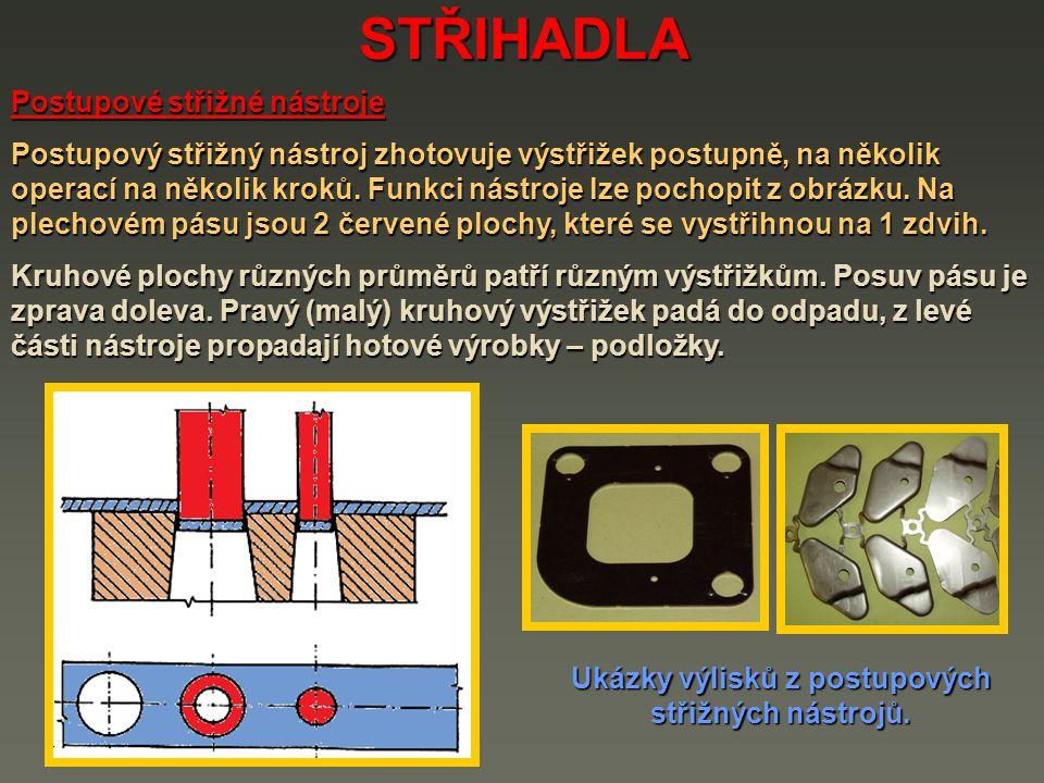 STŘIHADLA Postupové střižné nástroje Postupový střižný nástroj zhotovuje výstřižek postupně, na několik operací na několik kroků. Funkci nástroje lze