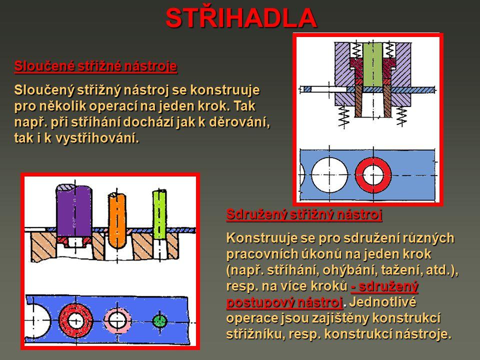 STŘIHADLA Sloučené střižné nástroje Sloučený střižný nástroj se konstruuje pro několik operací na jeden krok. Tak např. při stříhání dochází jak k děr