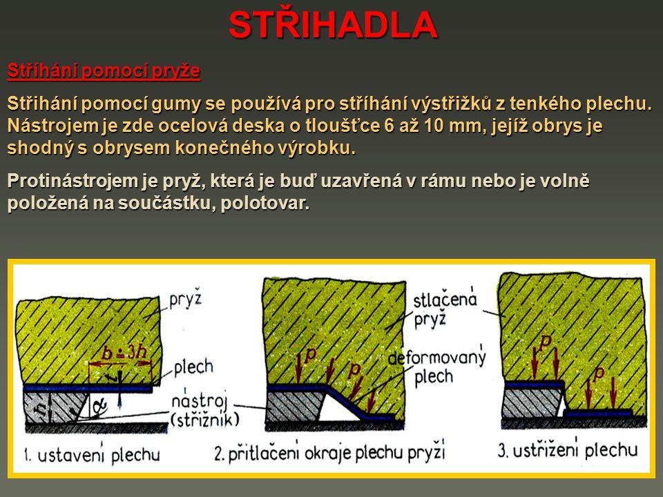 STŘIHADLA Stříhání pomocí pryže Střihání pomocí gumy se používá pro stříhání výstřižků z tenkého plechu. Nástrojem je zde ocelová deska o tloušťce 6 a