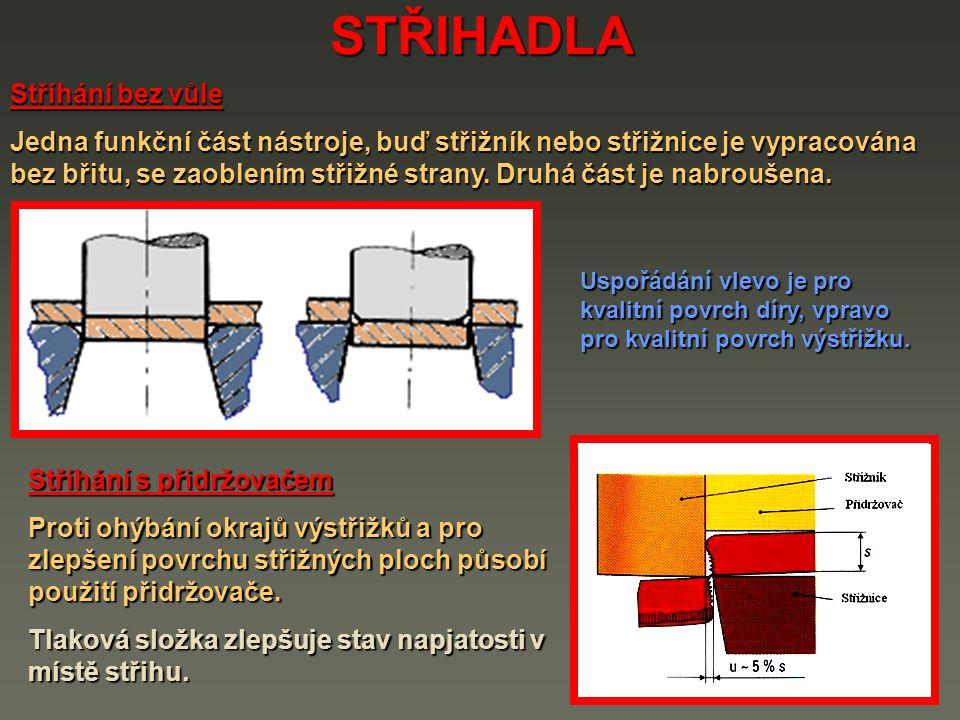 STŘIHADLA Stříhání bez vůle Jedna funkční část nástroje, buď střižník nebo střižnice je vypracována bez břitu, se zaoblením střižné strany. Druhá část