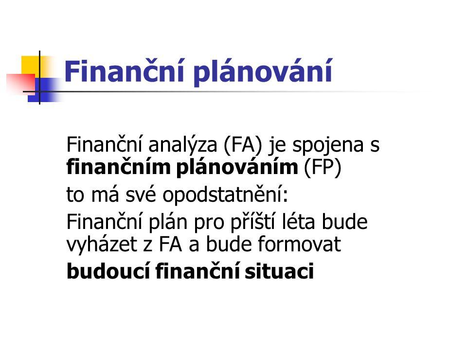 Finanční plánování Finanční analýza (FA) je spojena s finančním plánováním (FP) to má své opodstatnění: Finanční plán pro příští léta bude vyházet z FA a bude formovat budoucí finanční situaci
