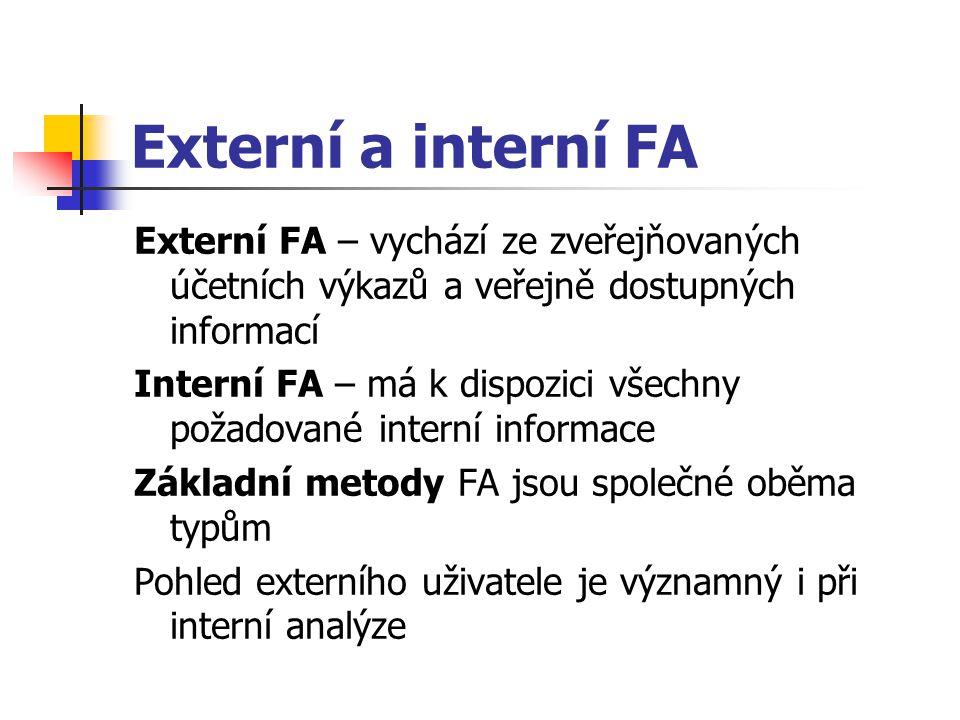 Externí a interní FA Externí FA – vychází ze zveřejňovaných účetních výkazů a veřejně dostupných informací Interní FA – má k dispozici všechny požadované interní informace Základní metody FA jsou společné oběma typům Pohled externího uživatele je významný i při interní analýze