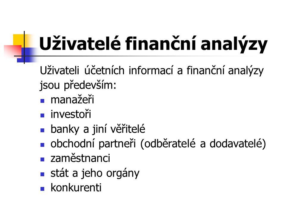 Uživatelé finanční analýzy Uživateli účetních informací a finanční analýzy jsou především: manažeři investoři banky a jiní věřitelé obchodní partneři