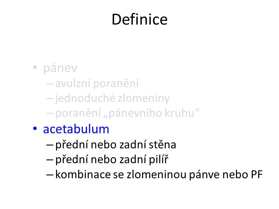 """Definice pánev – avulzní poranění – jednoduché zlomeniny – poranění """"pánevního kruhu"""" acetabulum – přední nebo zadní stěna – přední nebo zadní pilíř –"""