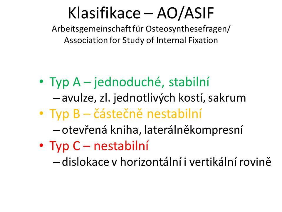 Klasifikace – AO/ASIF Arbeitsgemeinschaft für Osteosynthesefragen/ Association for Study of Internal Fixation Typ A – jednoduché, stabilní – avulze, z