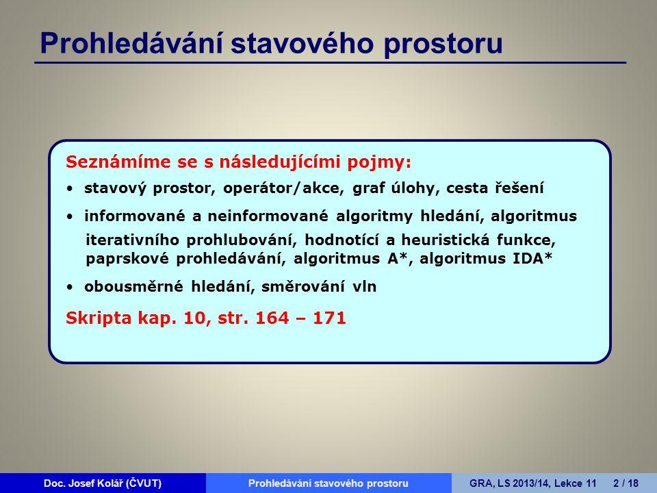 Doc. Josef Kolář (ČVUT)Prohledávání grafůGRA, LS 2010/11, Lekce 4 2 / 15Doc.