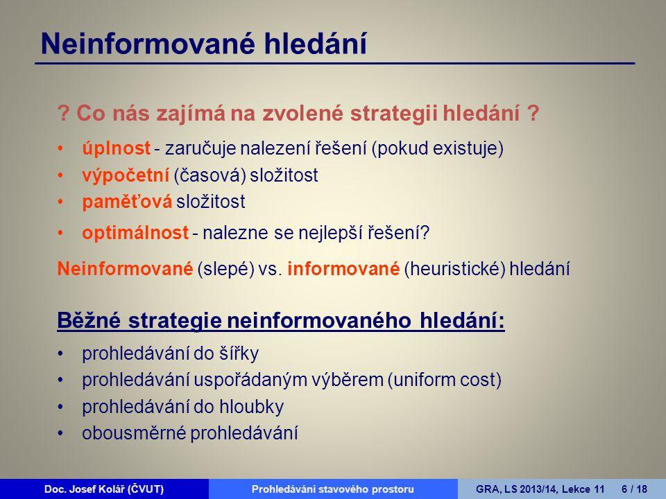 Doc. Josef Kolář (ČVUT)Prohledávání grafůGRA, LS 2010/11, Lekce 4 6 / 15Doc.