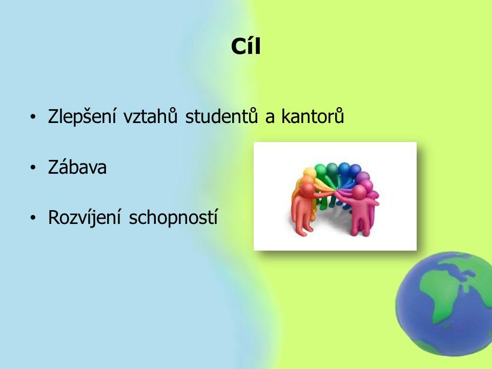 Cíl Zlepšení vztahů studentů a kantorů Zábava Rozvíjení schopností