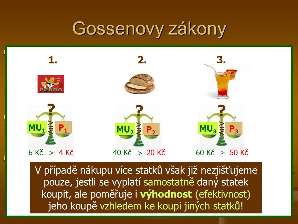 2. Gossenův zákon – zákon vyrovnání mezních užitků – říká, že celkový užitek ze spotřeby více statků je maximalizován tehdy, jestliže spotřebitel nale