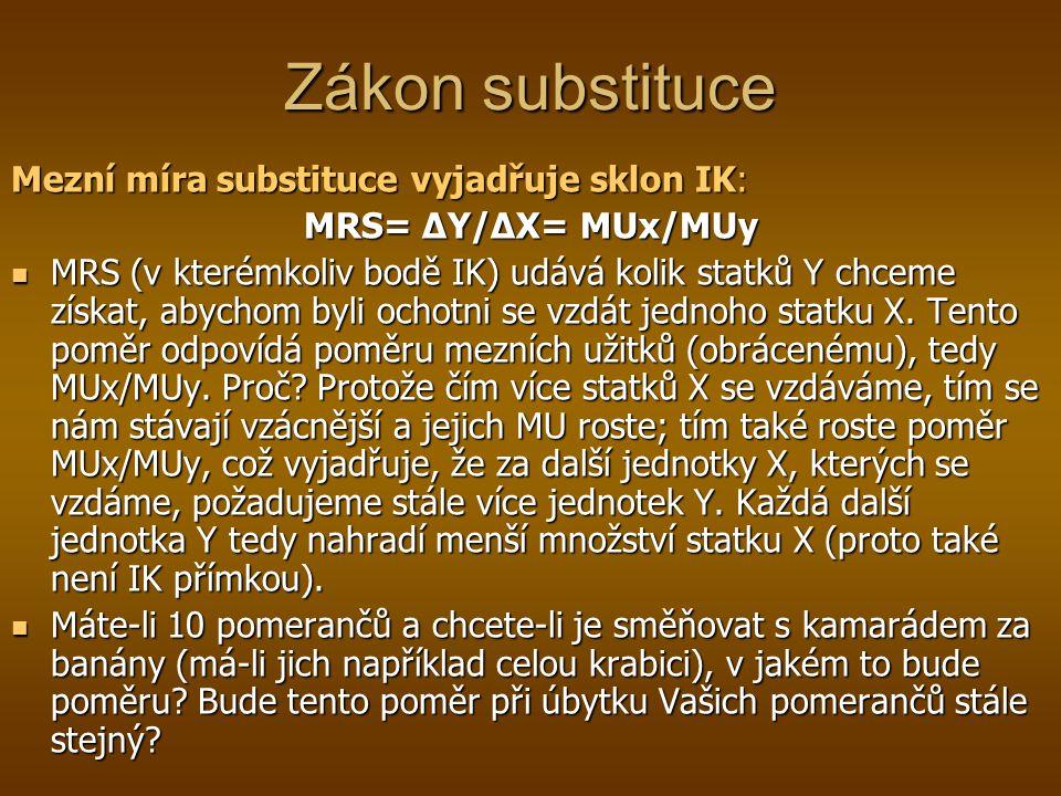 Zákon substituce Mezní míra substituce vyjadřuje sklon IK: MRS= ΔY/ΔX= MUx/MUy MRS (v kterémkoliv bodě IK) udává kolik statků Y chceme získat, abychom