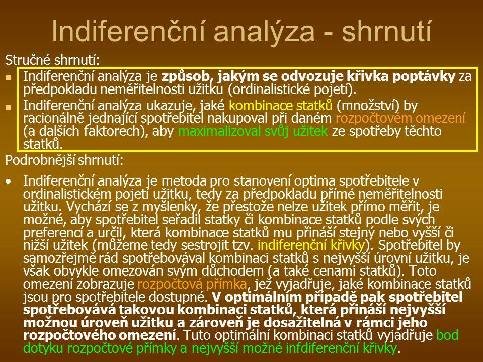 Indiferenční analýza - shrnutí Stručné shrnutí: Indiferenční analýza je způsob, jakým se odvozuje křivka poptávky za předpokladu neměřitelnosti užitku