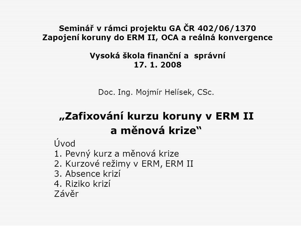 Seminář v rámci projektu GA ČR 402/06/1370 Zapojení koruny do ERM II, OCA a reálná konvergence Vysoká škola finanční a správní 17.