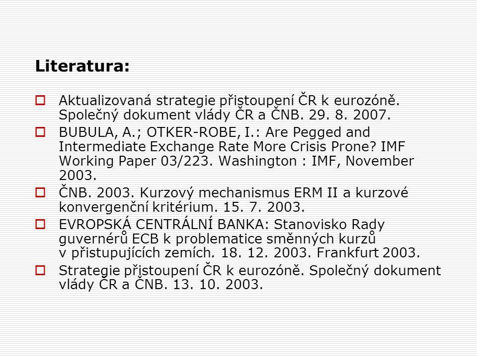 Literatura:  Aktualizovaná strategie přistoupení ČR k eurozóně.