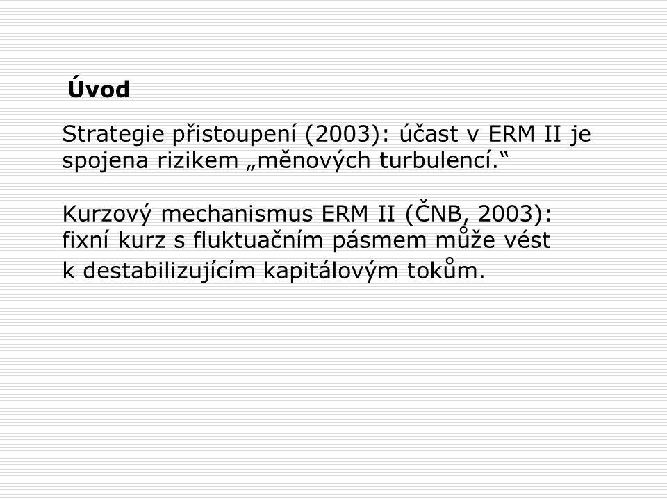 """Strategie přistoupení (2003): účast v ERM II je spojena rizikem """"měnových turbulencí. Kurzový mechanismus ERM II (ČNB, 2003): fixní kurz s fluktuačním pásmem může vést k destabilizujícím kapitálovým tokům."""