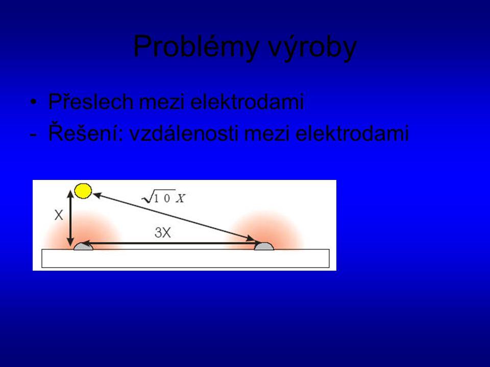 Problémy výroby Přeslech mezi elektrodami -Řešení: vzdálenosti mezi elektrodami