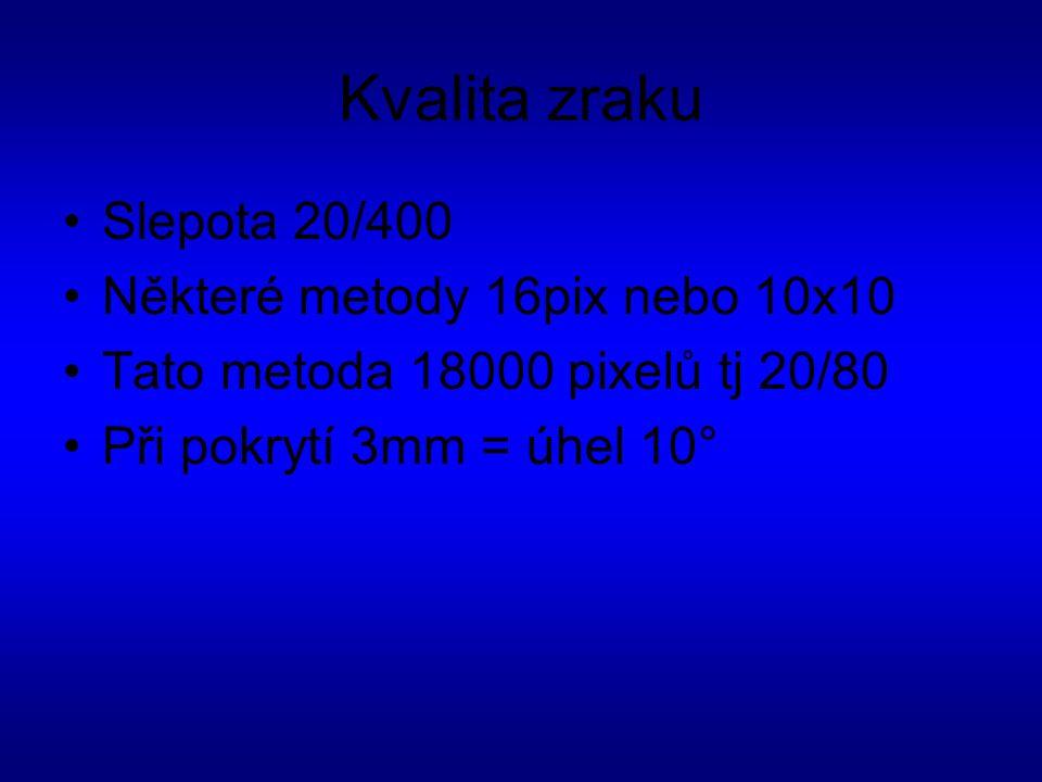 Kvalita zraku Slepota 20/400 Některé metody 16pix nebo 10x10 Tato metoda 18000 pixelů tj 20/80 Při pokrytí 3mm = úhel 10°