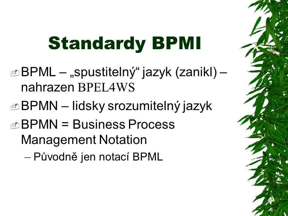 """Standardy BPMI  BPML – """"spustitelný"""" jazyk (zanikl) – nahrazen BPEL4WS  BPMN – lidsky srozumitelný jazyk  BPMN = Business Process Management Notati"""