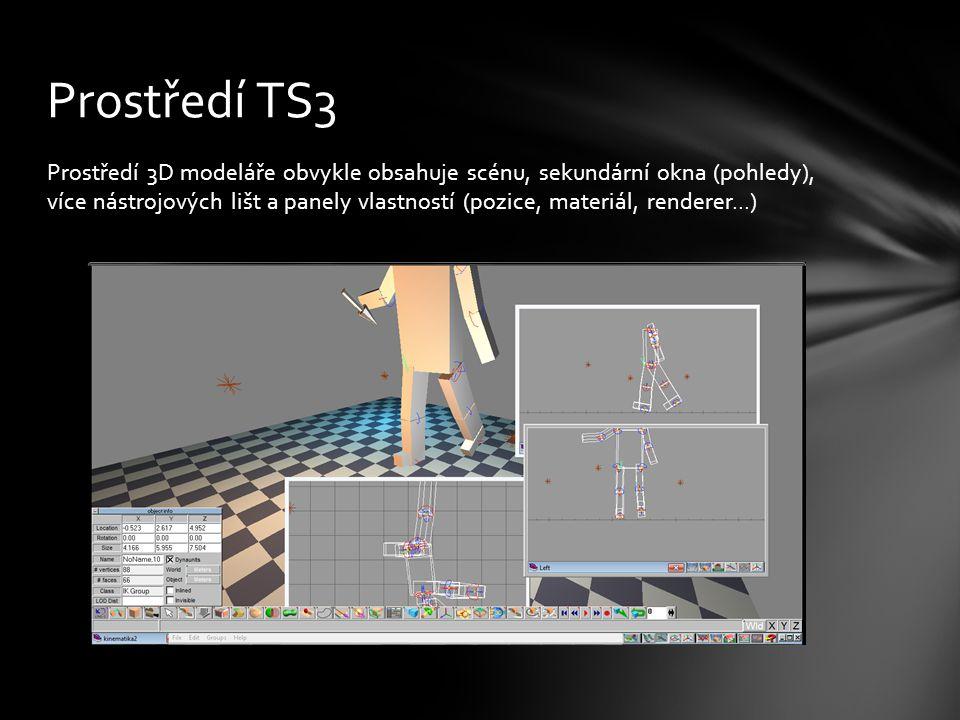 Prostředí 3D modeláře obvykle obsahuje scénu, sekundární okna (pohledy), více nástrojových lišt a panely vlastností (pozice, materiál, renderer...) Prostředí TS3