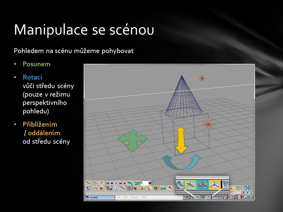 Pohledem na scénu můžeme pohybovat Posunem Rotací vůči středu scény (pouze v režimu perspektivního pohledu) Přiblížením / oddálením od středu scény Manipulace se scénou