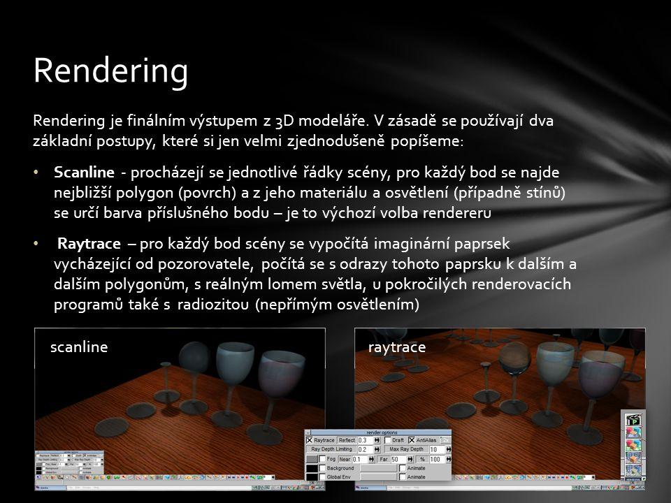 Rendering je finálním výstupem z 3D modeláře.