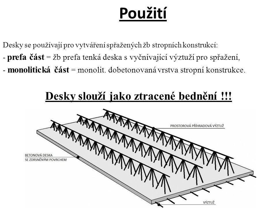 Použití Desky se používají pro vytváření spřažených žb stropních konstrukcí: - prefa část = žb prefa tenká deska s vyčnívající výztuží pro spřažení, - monolitická část = monolit.