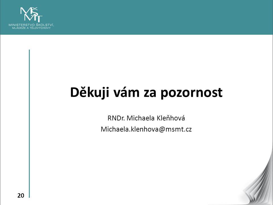 20 Děkuji vám za pozornost RNDr. Michaela Kleňhová Michaela.klenhova@msmt.cz