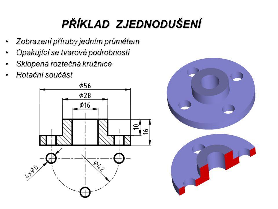 PŘÍKLAD ZJEDNODUŠENÍ Zobrazení příruby jedním průmětemZobrazení příruby jedním průmětem Opakující se tvarové podrobnostiOpakující se tvarové podrobnosti Sklopená roztečná kružniceSklopená roztečná kružnice Rotační součástRotační součást