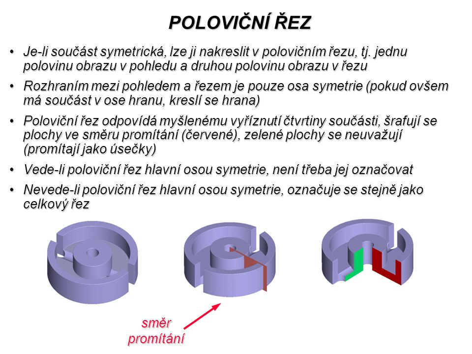 POLOVIČNÍ ŘEZ Je-li součást symetrická, lze ji nakreslit v polovičním řezu, tj.
