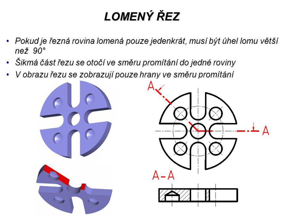 LOMENÝ ŘEZ Pokud je řezná rovina lomená pouze jedenkrát, musí být úhel lomu větší než 90°Pokud je řezná rovina lomená pouze jedenkrát, musí být úhel lomu větší než 90° Šikmá část řezu se otočí ve směru promítání do jedné rovinyŠikmá část řezu se otočí ve směru promítání do jedné roviny V obrazu řezu se zobrazují pouze hrany ve směru promítáníV obrazu řezu se zobrazují pouze hrany ve směru promítání