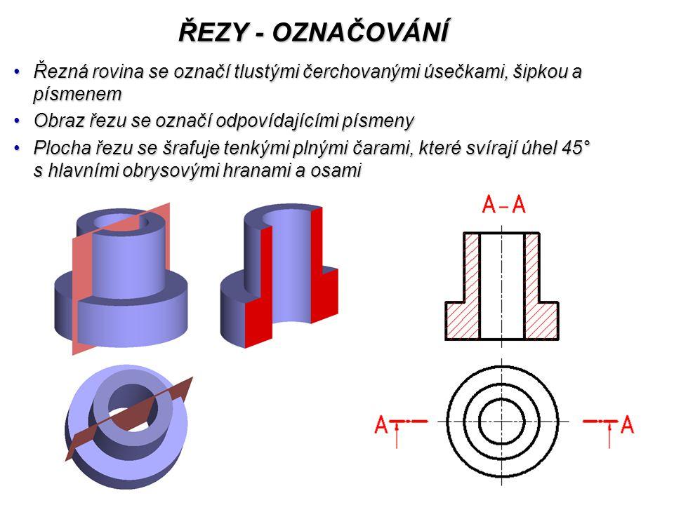 ŘEZY - ŠRAFOVÁNÍ Plocha řezu se šrafuje tenkými plnými čarami, které svírají úhel 45° s hlavními obrysovými hranami a osamiPlocha řezu se šrafuje tenkými plnými čarami, které svírají úhel 45° s hlavními obrysovými hranami a osami Různé součásti je nutné odlišit opačným sklonem šraf (opět pod úhlem 45°) a hustotou šrafováníRůzné součásti je nutné odlišit opačným sklonem šraf (opět pod úhlem 45°) a hustotou šrafování