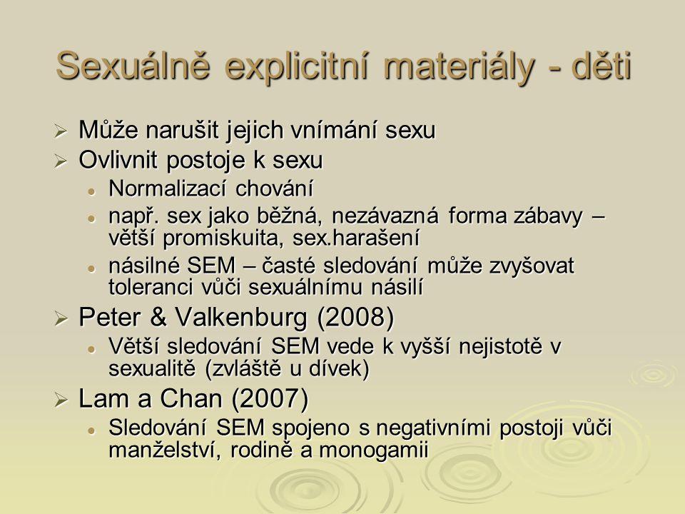 Sexuálně explicitní materiály - děti  Může narušit jejich vnímání sexu  Ovlivnit postoje k sexu Normalizací chování Normalizací chování např.
