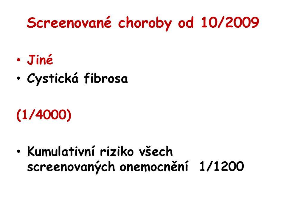 Screenované choroby od 10/2009 Jiné Cystická fibrosa (1/4000) Kumulativní riziko všech screenovaných onemocnění 1/1200