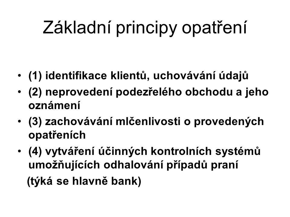 Základní principy opatření (1) identifikace klientů, uchovávání údajů (2) neprovedení podezřelého obchodu a jeho oznámení (3) zachovávání mlčenlivosti