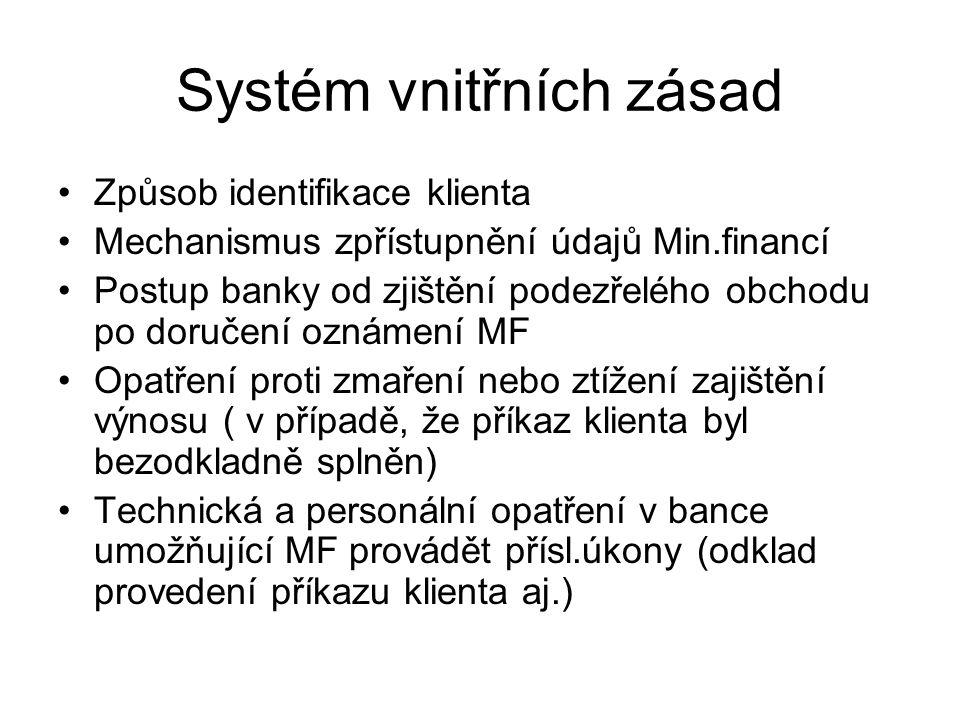 Systém vnitřních zásad Způsob identifikace klienta Mechanismus zpřístupnění údajů Min.financí Postup banky od zjištění podezřelého obchodu po doručení