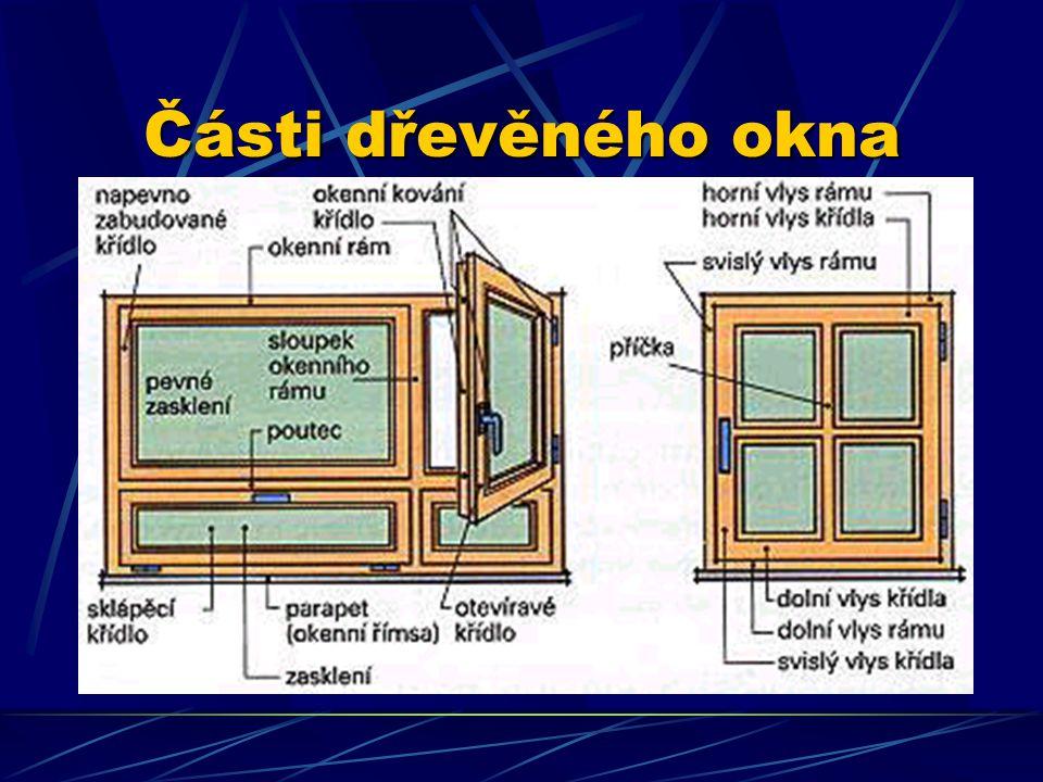 Okenní křídla Sloupky rozdělují okno na šířku. Vodorovné členění pomocí sloupků se uplatňuje u oken s větším počtem křídel. Toto členění podstatně ovl