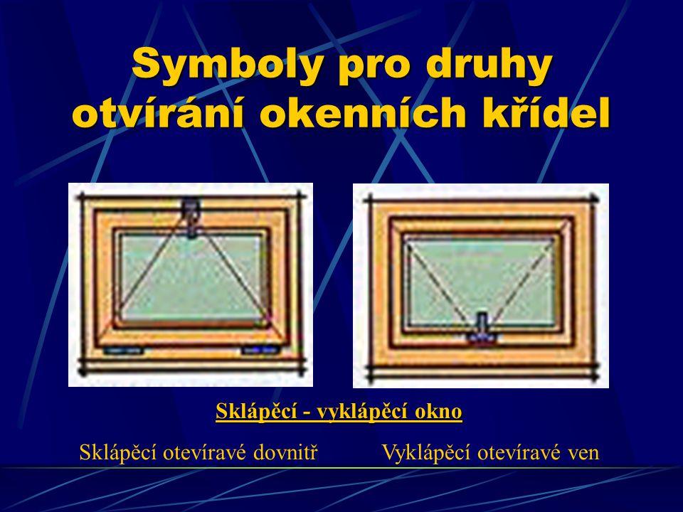 Symboly pro druhy otvírání okenních křídel Otevíravé okno otevíravé ven – pravé otevíravé dovnitř - levé