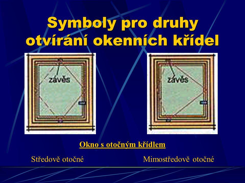 Symboly pro druhy otvírání okenních křídel Otevíravé a sklápěcí okno Okno s kyvným křídlem