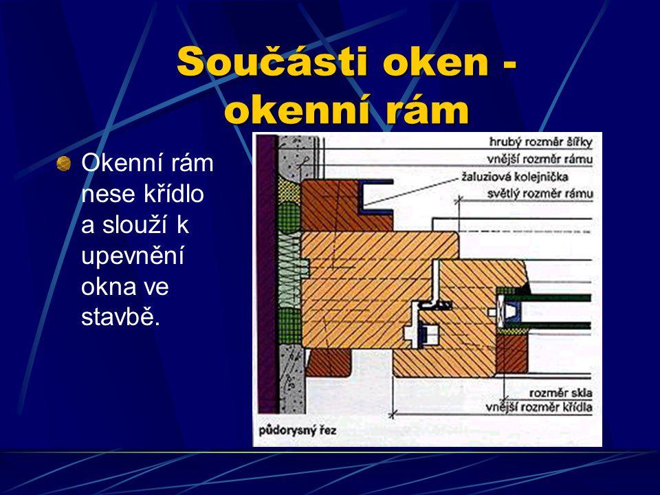 Součásti oken Okno se skládá ze součástí, jejichž označení, konstrukční úloha a způsob zhotovení je důležité znát. Okno zpravidla tvoří okenní rám a j